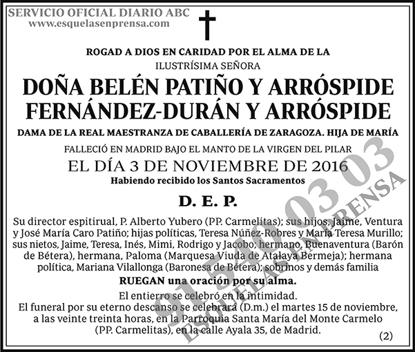 Belén Patiño y Arróspide Fernández-Durán y Arróspide